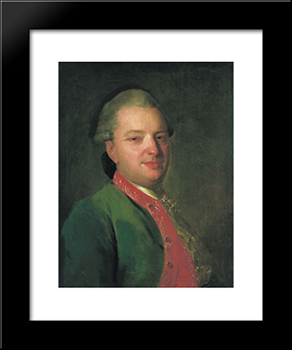 Portrait Of The Poet Vasily Maykov: Modern Black Framed Art Print by Fyodor Rokotov