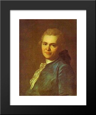 Portrait Of Unknown Man In A Blue Caftan: Modern Black Framed Art Print by Fyodor Rokotov