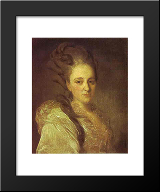 Portrait Of V.A.Obreskova: Modern Black Framed Art Print by Fyodor Rokotov