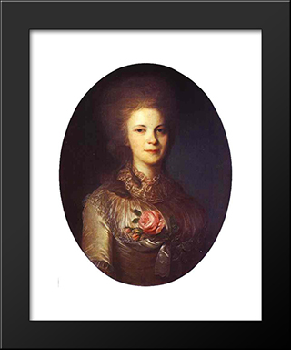 Portrait Of V.N.Surovtseva: Modern Black Framed Art Print by Fyodor Rokotov