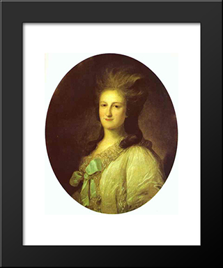 Portrait Of Varvara Ermolayevna-Novosiltseva: Modern Black Framed Art Print by Fyodor Rokotov