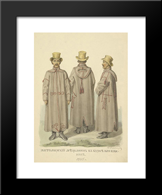 Burgher From Zhitomir In The Cloak: Modern Black Framed Art Print by Fyodor Solntsev