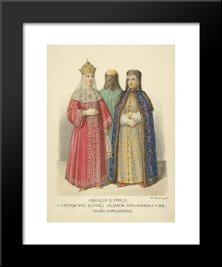 Clothing Of Queens. With Portraits Of Queens Evdokia Lukianovny And Natalia Kirilovna: Custom Black Wood Framed Art Print by Fyodor Solntsev