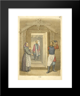 Clothing Of The Russian State: Modern Black Framed Art Print by Fyodor Solntsev