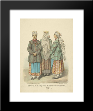 Clothing Woman From Kiev Province: Modern Black Framed Art Print by Fyodor Solntsev