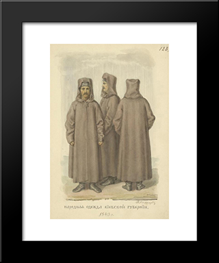 People Clothes The Province Of Kiev: Modern Black Framed Art Print by Fyodor Solntsev