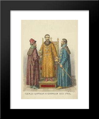 Royal And Nobleman Clothing Of The Xvii Century: Modern Black Framed Art Print by Fyodor Solntsev
