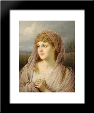 Blonde Frau: Modern Black Framed Art Print by Gabriel von Max