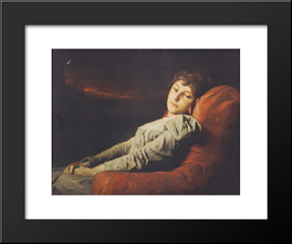 Clairvoyant-Veritas (The Clairvoyant Truth): Modern Black Framed Art Print by Gabriel von Max