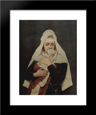 Findelkind: Modern Black Framed Art Print by Gabriel von Max