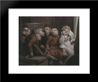 Last Performance: Modern Black Framed Art Print by Gabriel von Max