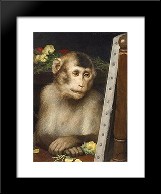 Monkey: Modern Black Framed Art Print by Gabriel von Max
