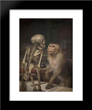 Monkey Before Skeleton: Modern Black Framed Art Print by Gabriel von Max