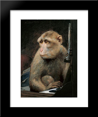 Monkey Playing Pianoforte: Modern Black Framed Art Print by Gabriel von Max