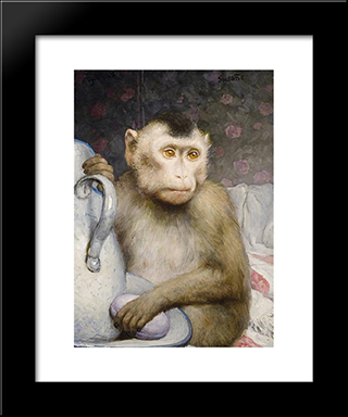 Monkey With Pitcher: Modern Black Framed Art Print by Gabriel von Max