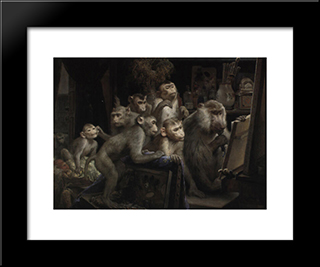 Monkeys And Painting: Modern Black Framed Art Print by Gabriel von Max