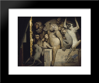 Monkeys As Judges Of Art: Modern Black Framed Art Print by Gabriel von Max
