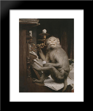 Monkeys At The Piano: Modern Black Framed Art Print by Gabriel von Max