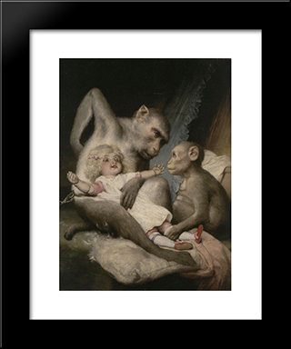 Monkeys Doll: Modern Black Framed Art Print by Gabriel von Max