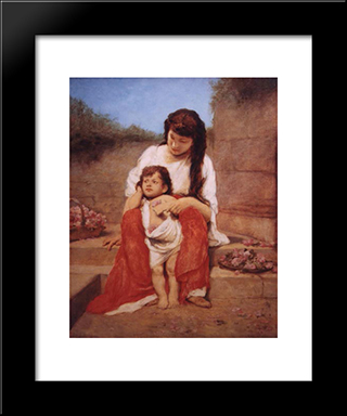Mutter Mit Kind: Modern Black Framed Art Print by Gabriel von Max