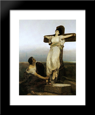 Saint Julia (Crucified Martyress): Modern Black Framed Art Print by Gabriel von Max