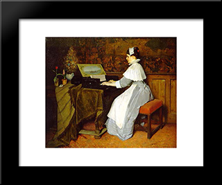 Still Life (Girl At A Spinet): Modern Black Framed Art Print by Gabriel von Max