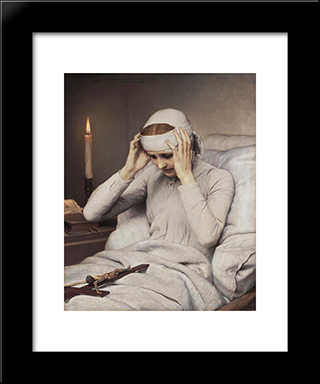 The Ecstatic Virgin Anna Katharina Emmerich: Modern Black Framed Art Print by Gabriel von Max