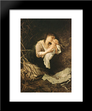 The Murderess Of A Child 1877: Modern Black Framed Art Print by Gabriel von Max