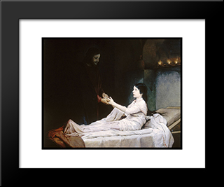 The Raising Of The Daughter Of Jairus: Modern Black Framed Art Print by Gabriel von Max