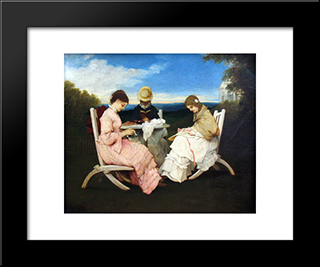 The Sisters: Modern Black Framed Art Print by Gabriel von Max