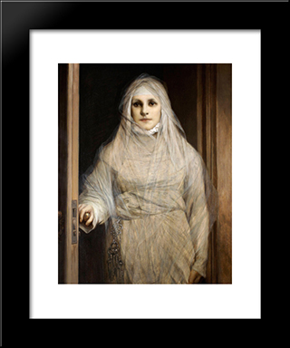 The White Woman 1900: Modern Black Framed Art Print by Gabriel von Max