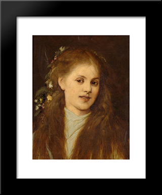 Woman With Flowers In Her Hair: Modern Black Framed Art Print by Gabriel von Max