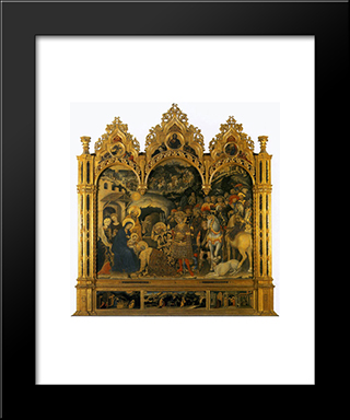 Adoration Of The Magi, From The Strozzi Chapel In Santa Trinita, Florence: Modern Black Framed Art Print by Gentile da Fabriano