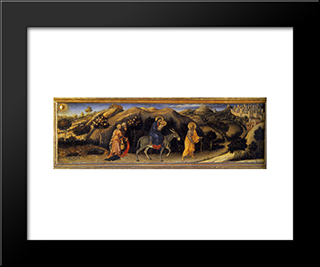 Adoration Of The Magi Altarpiece, Left Hand Predella Panel Depicting Rest During The Flight Into Egypt: Modern Black Framed Art Print by Gentile da Fabriano