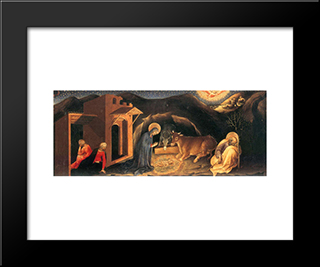 Adoration Of The Magi Altarpiece, Left Hand Predella Panel Depicting The Nativity: Modern Black Framed Art Print by Gentile da Fabriano