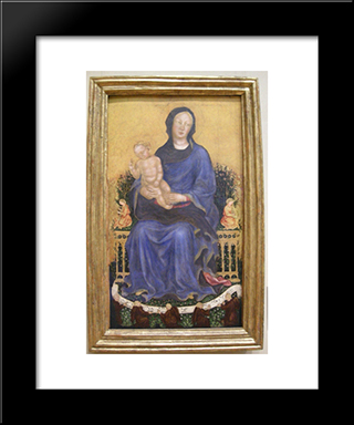 Enthroned Madonna With Angels: Modern Black Framed Art Print by Gentile da Fabriano