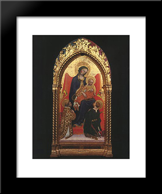 Gentile Da Fabriano Madonna And Child, With Sts. Lawrence: Modern Black Framed Art Print by Gentile da Fabriano