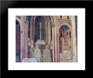 Loggia (The Founding Of Rome): Modern Black Framed Art Print by Gentile da Fabriano