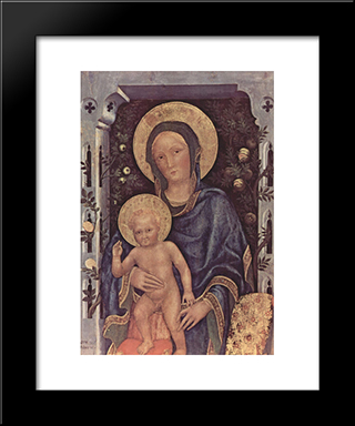 Madonna And Child: Modern Black Framed Art Print by Gentile da Fabriano