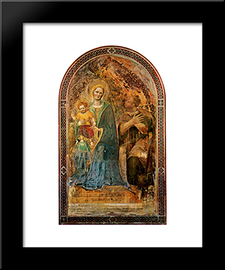 Madonna And Child With Angels Madonna And Child With Angels Gentile Da Fabriano Fresco Orvieto, Cathedral: Modern Black Framed Art Print by Gentile da Fabriano