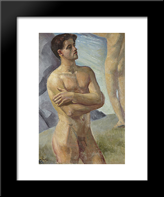 Bathing Men: Modern Black Framed Art Print by Georg Pauli