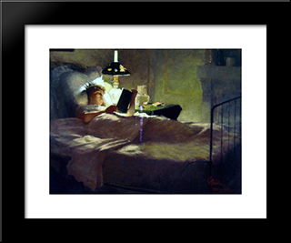 Evening Reading: Modern Black Framed Art Print by Georg Pauli
