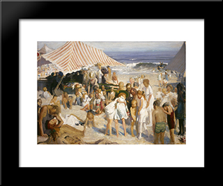 Beach At Coney Island: Modern Black Framed Art Print by George Bellows