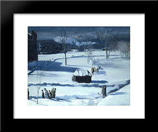 Blue Snow, The Battery: Modern Black Framed Art Print by George Bellows