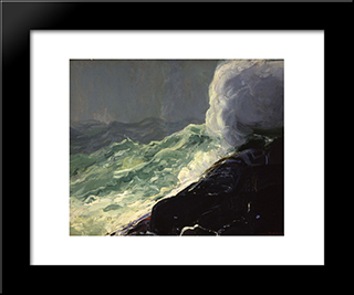 Churn And Break: Modern Black Framed Art Print by George Bellows