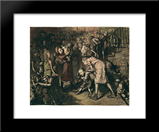 Cliff Dwellers: Modern Black Framed Art Print by George Bellows
