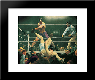 Dempsey And Firpo: Modern Black Framed Art Print by George Bellows