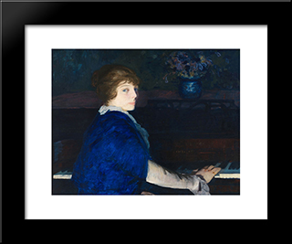 Emma At The Piano: Modern Black Framed Art Print by George Bellows