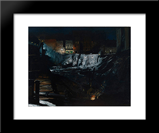 Excavation At Night: Modern Black Framed Art Print by George Bellows