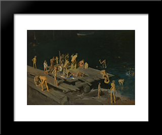 Forty-Two Kids: Modern Black Framed Art Print by George Bellows